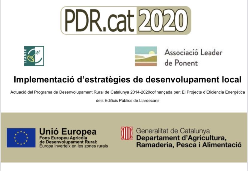 PROJECTE SUBVENCIONAT CONVOCATÒRIA 2019 - Ajuntament de Llardecans