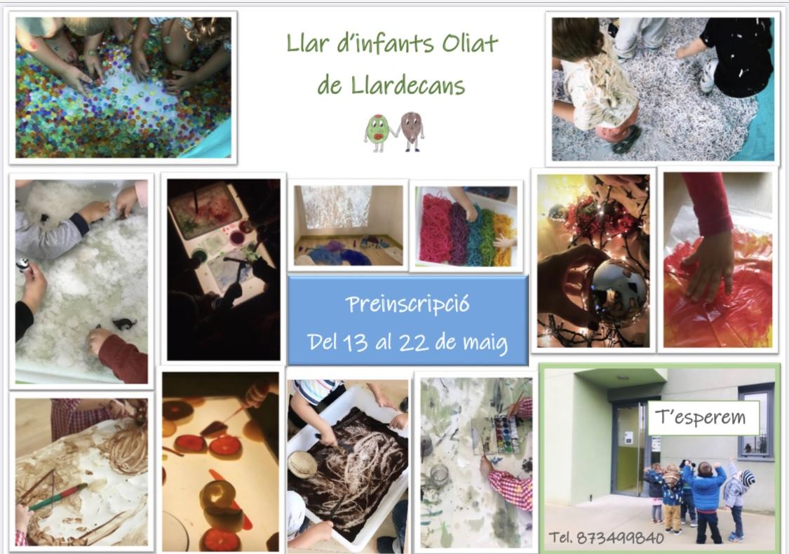 PREINSCRIPCIONS LLAR D'INFANTS OLIAT CURS 2020 - 2021 - Ajuntament de Llardecans