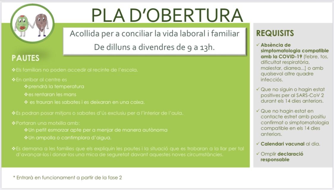 PLA D'OBERTURA LLAR D'INFANTS - Ajuntament de Llardecans